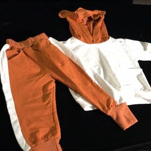 Two piece matching hoodie pants set